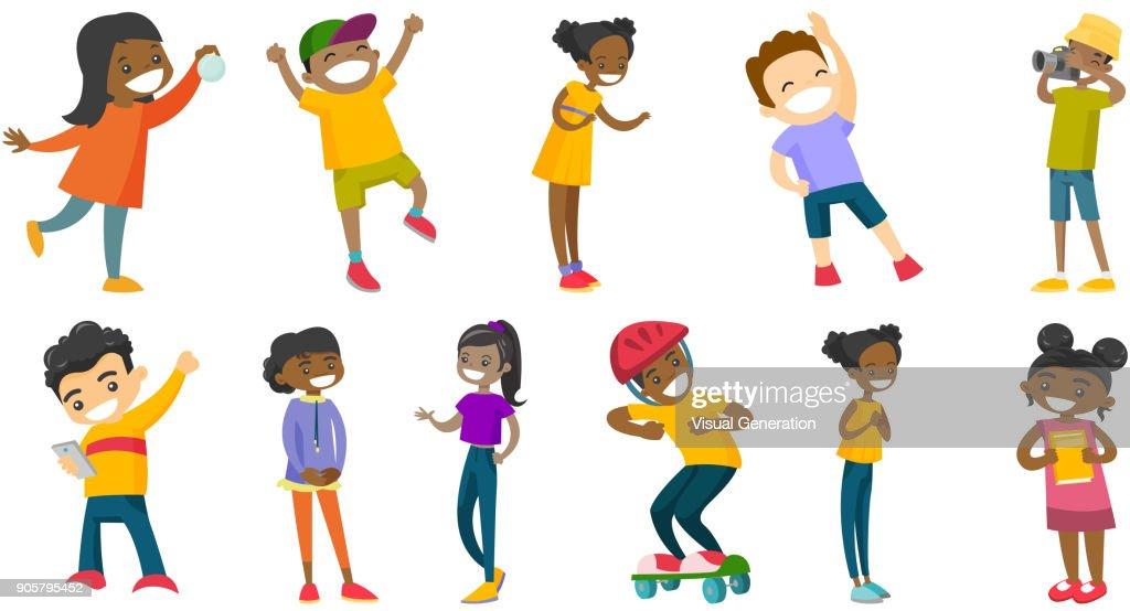 Multiracial children vector illustrations set