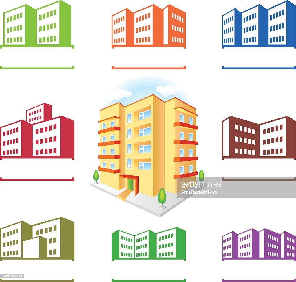 Multistoried building site icons logo set