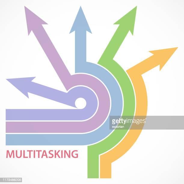 multi-tasking arrows at arrow series - traffic arrow sign stock illustrations