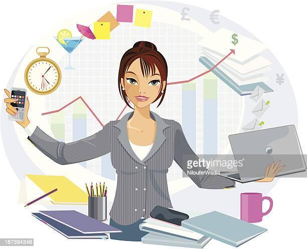 multi-tasking business woman - juggling stock illustrations, clip art, cartoons, & icons
