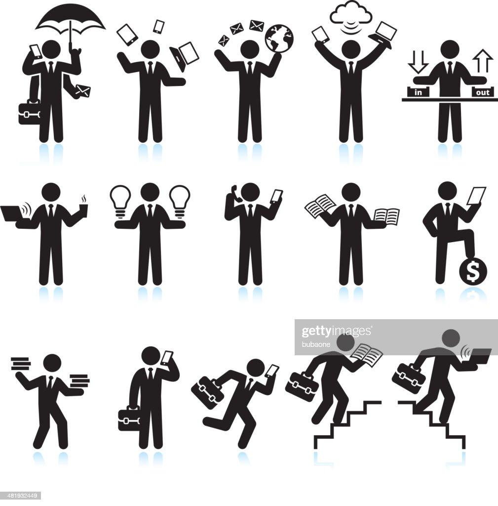 Multitasking Businessman Hectic Life black & white vector icon set
