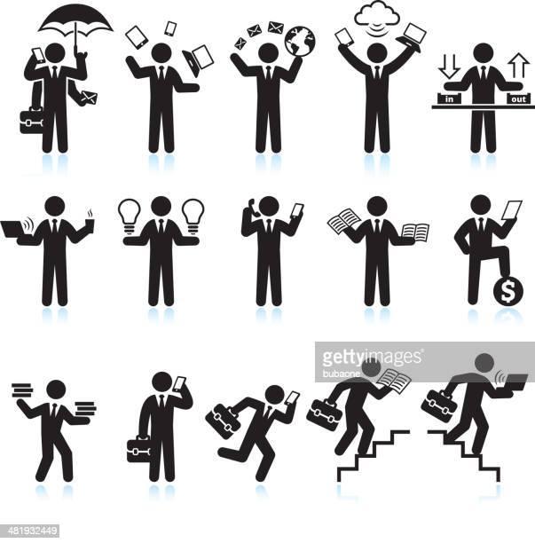 ilustraciones, imágenes clip art, dibujos animados e iconos de stock de multitarea hombre de vida agitado negro & conjunto de iconos de vector blanco - maletín