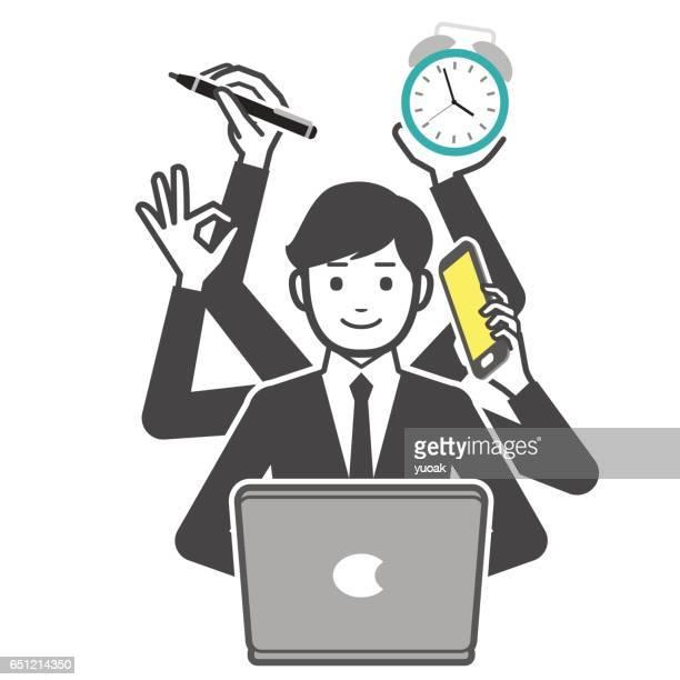 ilustrações, clipart, desenhos animados e ícones de multitarefa empresário  - submita busca