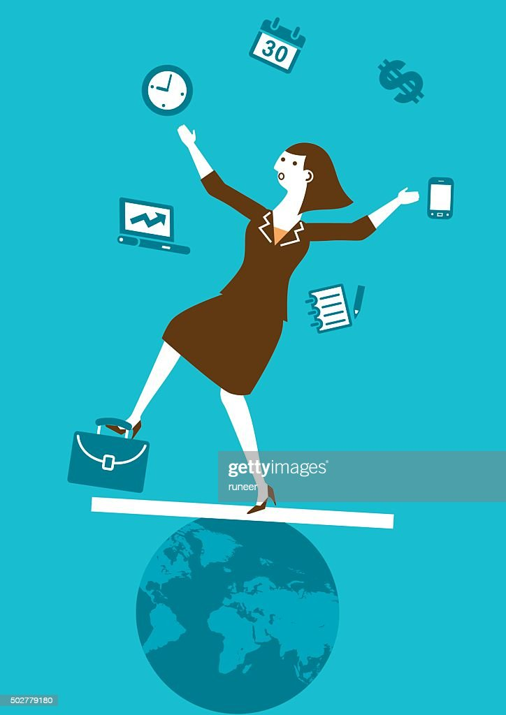 Multitasking Businesswoman Juggler | New Business Concept