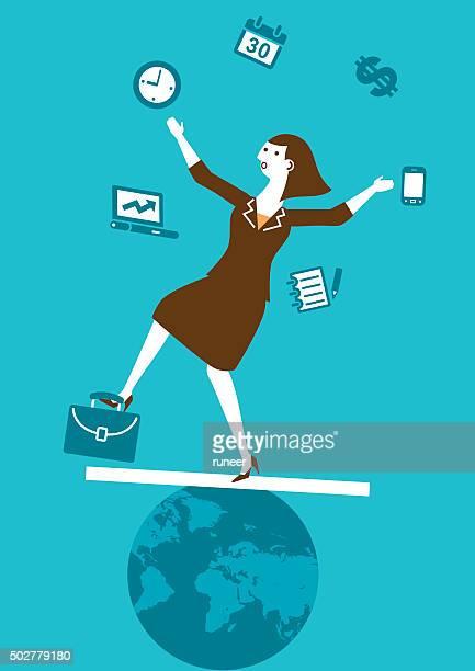 multitasking businesswoman juggler | new business concept - juggling stock illustrations, clip art, cartoons, & icons