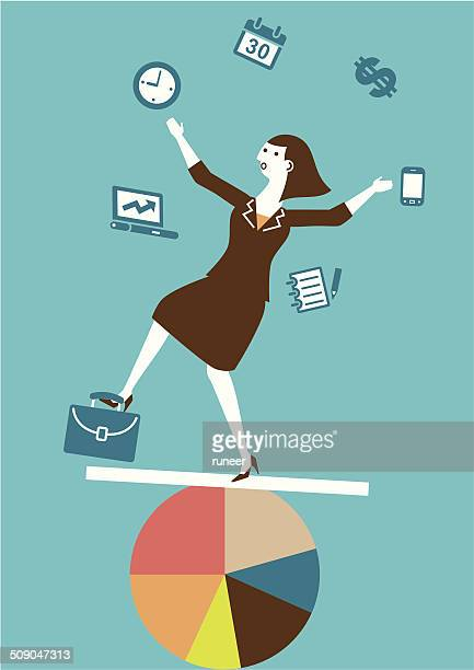 multitasking (juggling) businesswoman | yellow business concept - juggling stock illustrations, clip art, cartoons, & icons