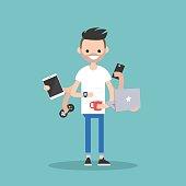 Multitasking millennial concept