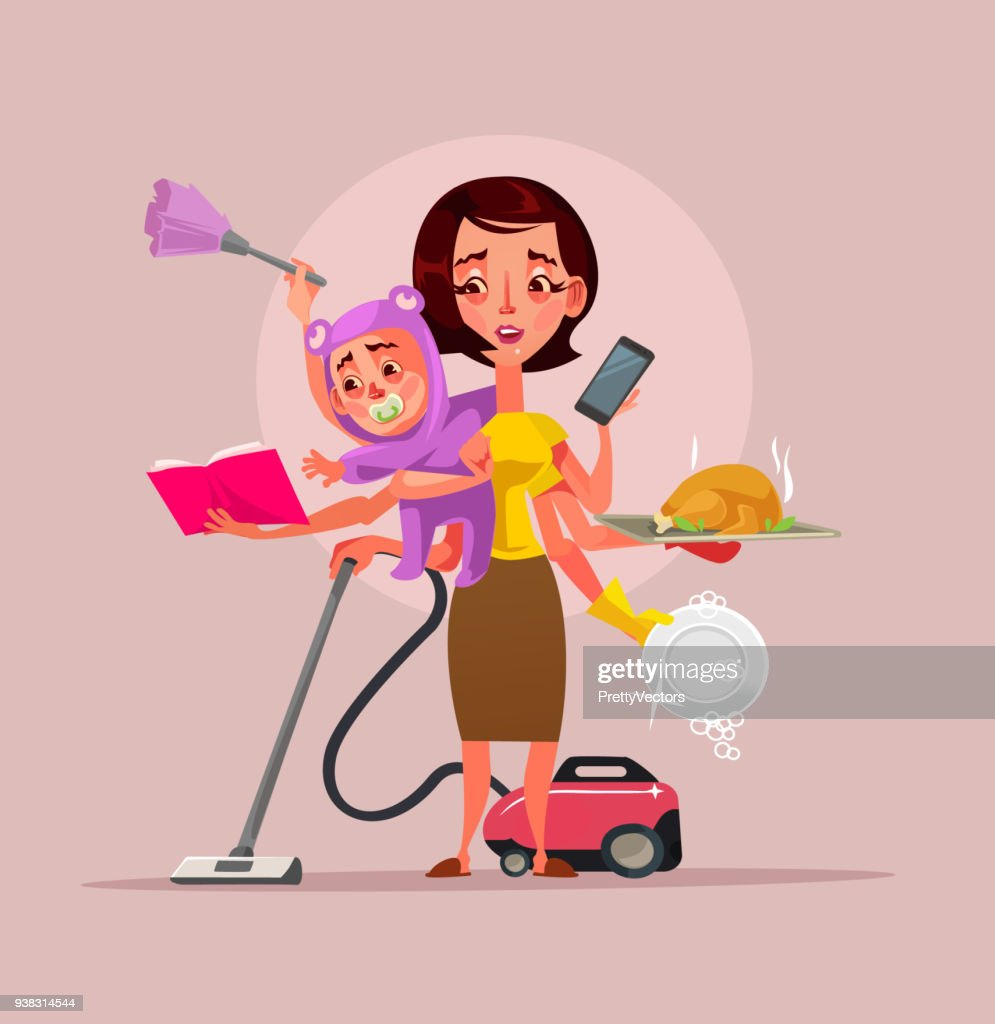Multitasking super mother character holding baby phone food and cleaning house subjects