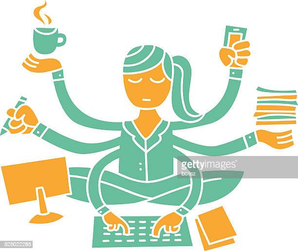 multitasking woman - assistant stock illustrations, clip art, cartoons, & icons
