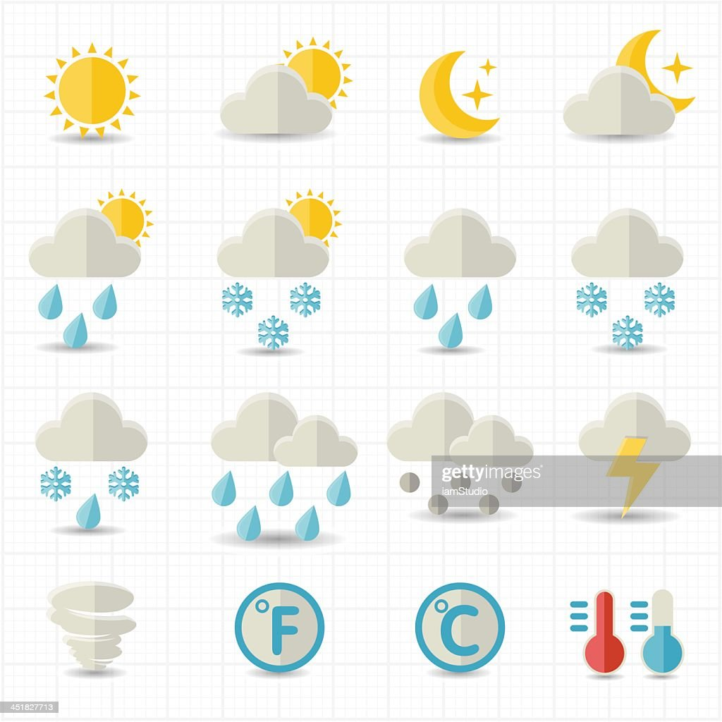 Multitude of weather icons on one sheet of white paper