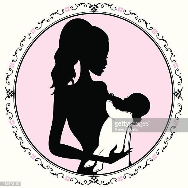 ilustraciones, imágenes clip art, dibujos animados e iconos de stock de madre y bebé - lactancia materna