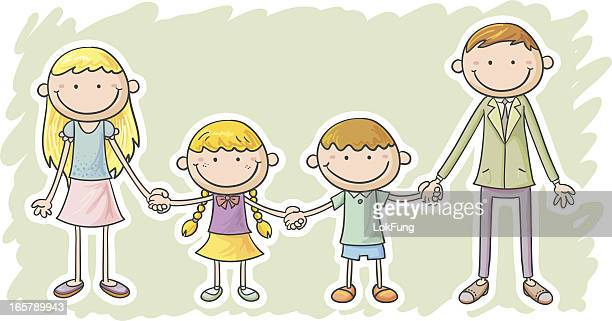 mum, daughter, son and dad - school child stock illustrations, clip art, cartoons, & icons