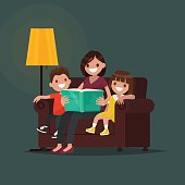 Mum reads the book to children. Vector illustration