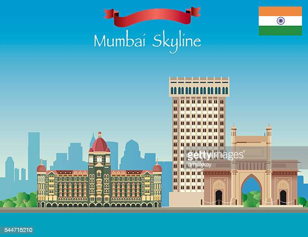 mumbai skyline - mumbai stock illustrations