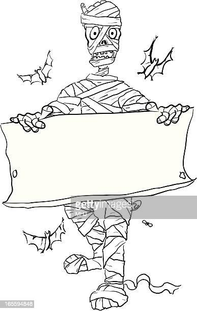 mummy and parchment sketch - halloween - baby blanket stock illustrations, clip art, cartoons, & icons