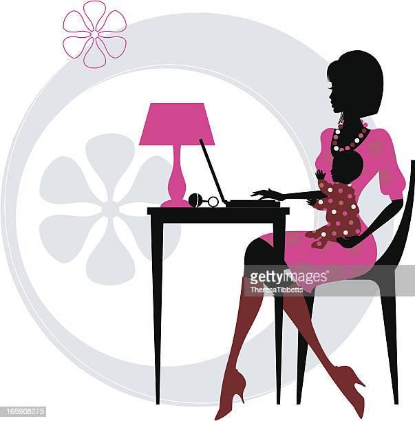 ilustraciones, imágenes clip art, dibujos animados e iconos de stock de mamá bloguera - madre trabajadora