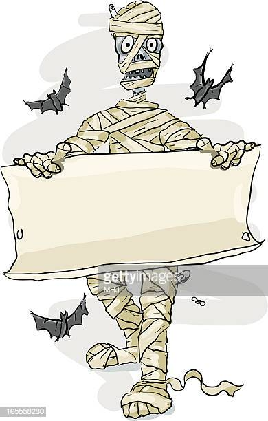 mummy holding a parchment sign, halloween - blanket texture stock illustrations, clip art, cartoons, & icons