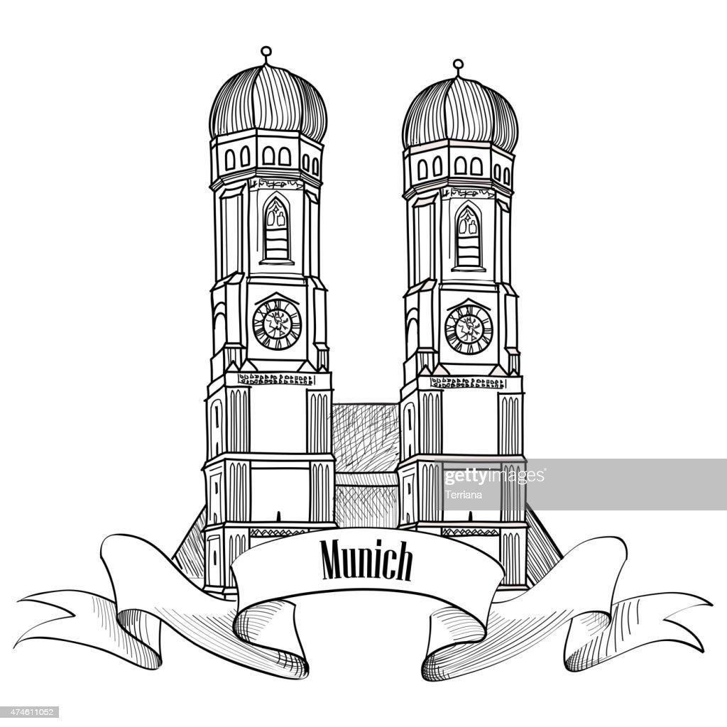 Munich city label. Travel Germany emblem. Bavaria capital sign.