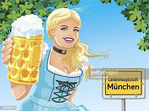 München Oktoberfest BIER Frau Vektor