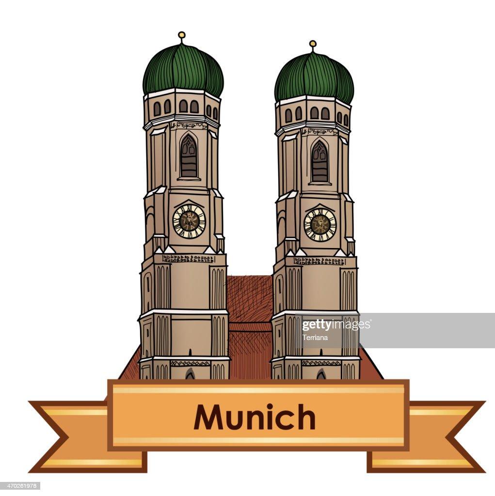 Munich city symbol. Munich Cathedral, Bavarian capital sign.