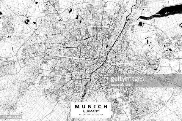 illustrations, cliparts, dessins animés et icônes de carte vectorielle de munich, allemagne - munich