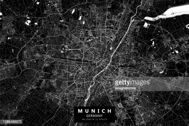münchen, deutschland vektorkarte - münchen stock-grafiken, -clipart, -cartoons und -symbole