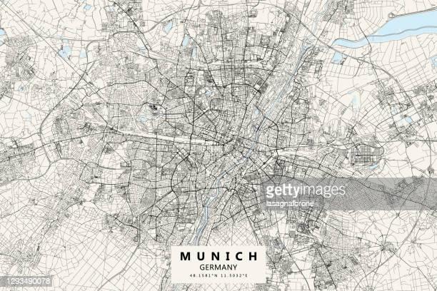 munich, germany vector map - marienplatz stock illustrations