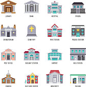 Municipal city buildings library, bank, hospital, prison vector icon set