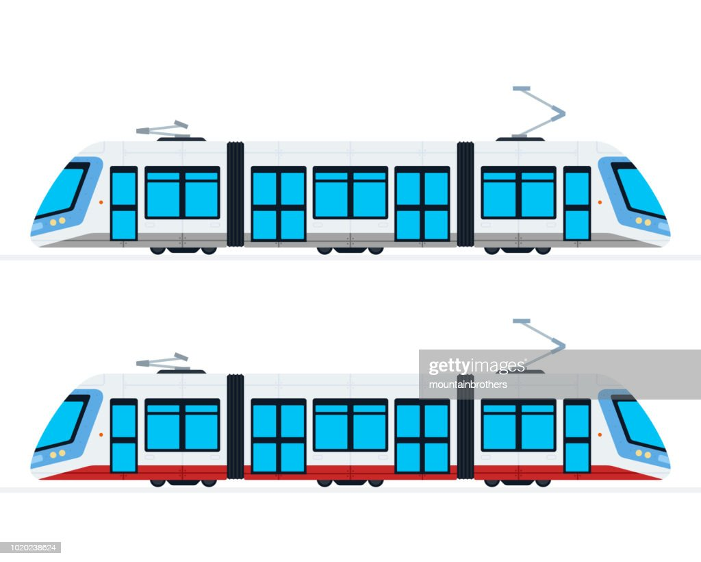 Municipal Electric Tram vector flat isolated