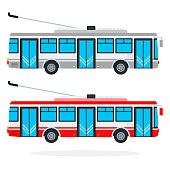 Municipal trolleybuses vector flat isolated