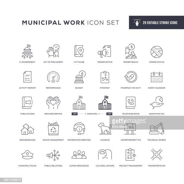 municipal work editable stroke line icons - local politics stock illustrations