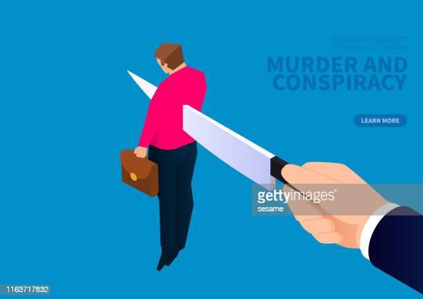 ilustrações, clipart, desenhos animados e ícones de assassinato e conspiração comercial, faca afiada perfurando o corpo do empresário - office politics