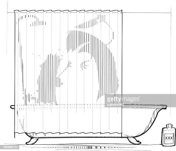 ilustraciones, imágenes clip art, dibujos animados e iconos de stock de asesinato en la bañera - matadero