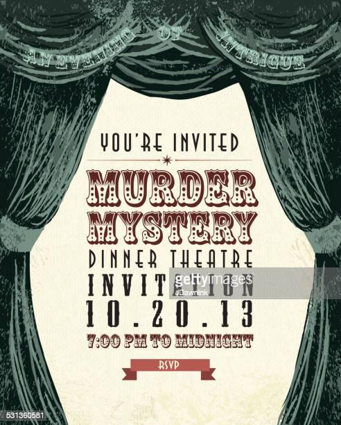 illustrations, cliparts, dessins animés et icônes de dîner murder mystery le théâtre de design vintage invitation template - enigme