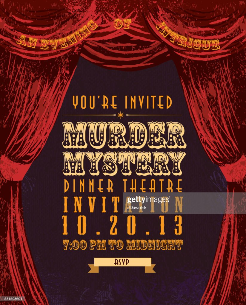 Murder Mystery Dinner Theatre Invitation Template Vintage Design