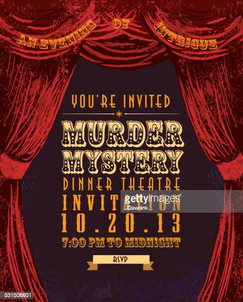 murder mystery dinner theatre invitation template vintage design - mystery stock illustrations