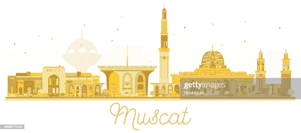 Muscat Oman City skyline golden silhouette.