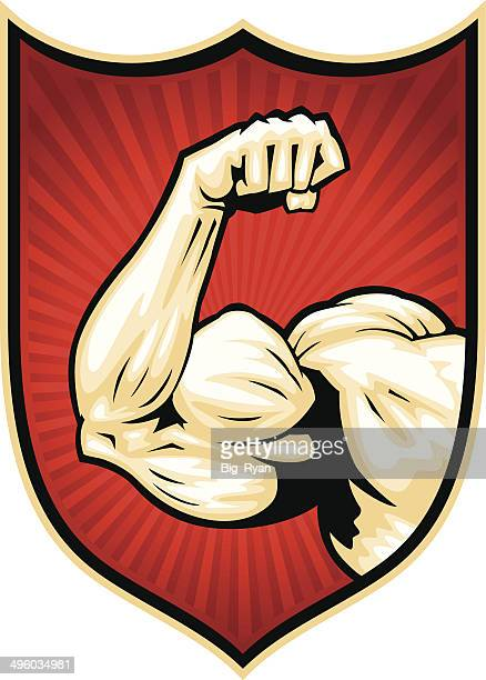 muscle arm badge - forearm stock illustrations, clip art, cartoons, & icons