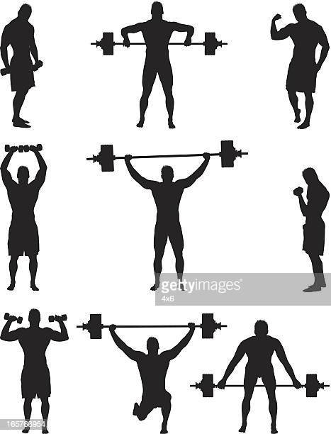 Muscle bound man lifting weights