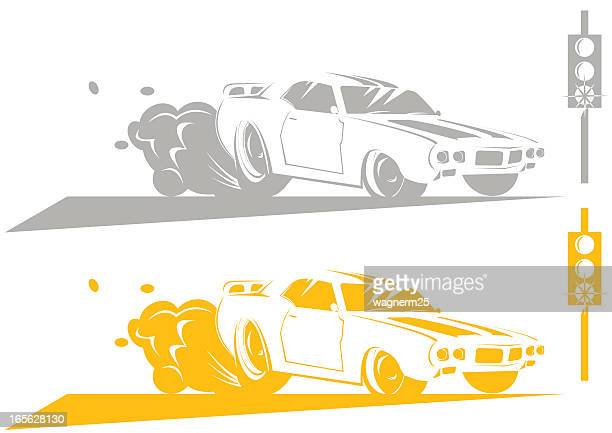 Muscle Car Cartoon Lineart Vector Art Getty Images