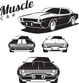 Muscle car tamplates for icons and emblems isolated