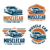 Muscle car template, retro style, vintage design