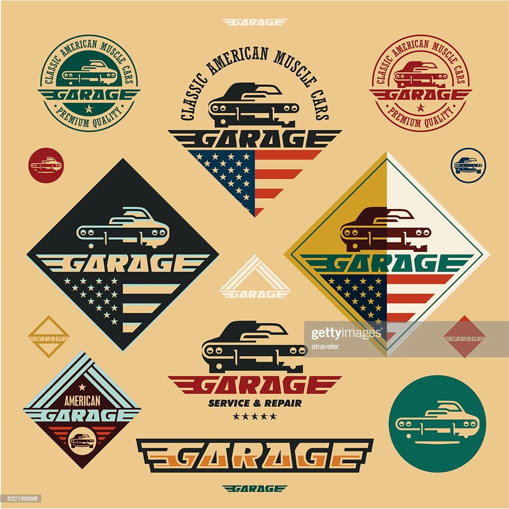 muscle cars garage vintage style labels