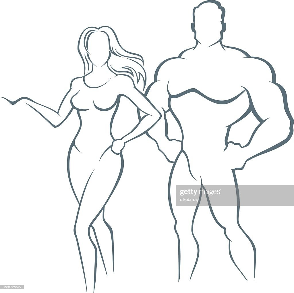Muscle man and Fitness woman - illustration