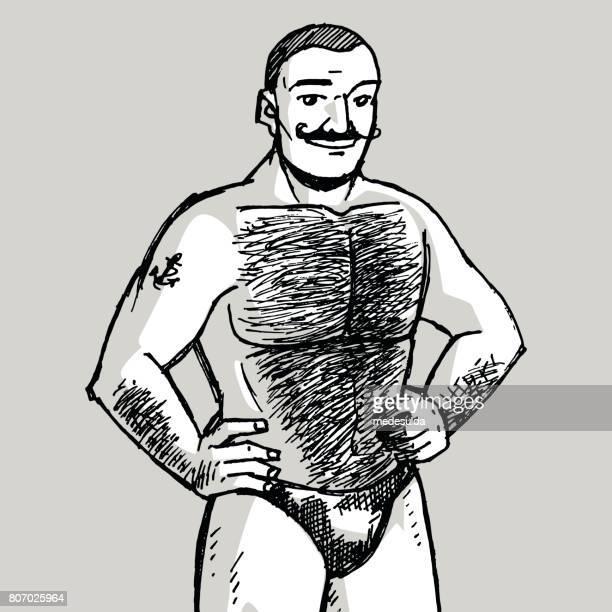 muscle man - gay stock illustrations, clip art, cartoons, & icons
