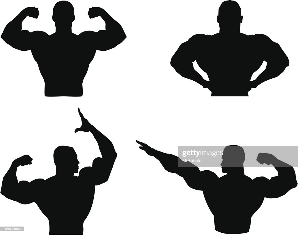Musclemen outlines and silhouette