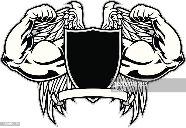 muscles flexing - body building stock illustrations, clip art, cartoons, & icons