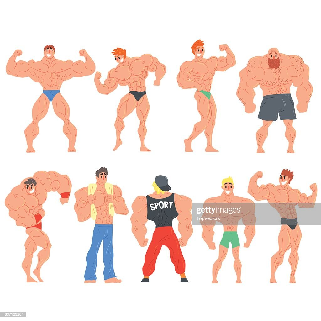 Muscly Bodybuilders Funny Characters Set