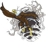 Muscular Bald Eagle Mascot Ripping Out Background