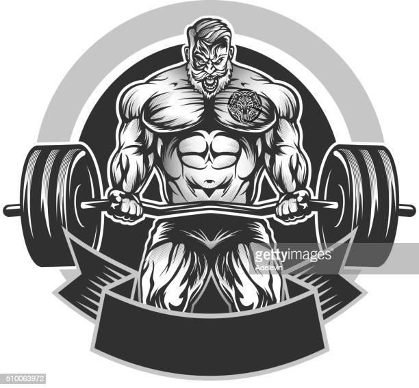 ilustraciones, imágenes clip art, dibujos animados e iconos de stock de emblema culturismo muscular - entrenamiento con pesas